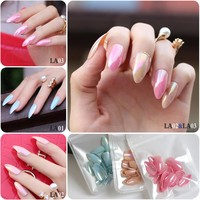 Nude Color full cover stiletto nails Tips Metal pink False nail Salon Mirror 24pcs Blue laser end product Fake nail