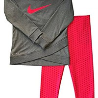 Nike Infant Girls A Wrap-Style Glittered Swoosh Dri-Fit Tunic & Leggings Set 24 Months