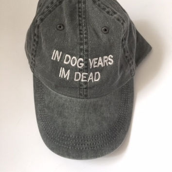 in dog years im dead washed out grey cap with silver embroidery 100% cotton tumblr instagram pinterest