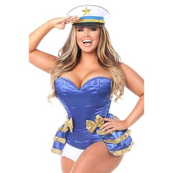 Daisy Top Drawer 4 PC Pin-Up Sailor Sequin Corset Costume