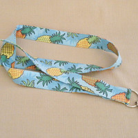 Pineapples - handmade fabric lanyard
