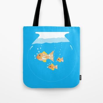 Three Goldfishes In a Water Bowl Tote Bag by ES Creative Designs