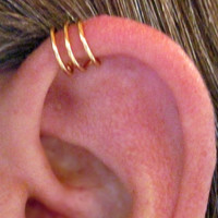 "No Piercing Handmade Helix Cuff Ear Cuff ""Triple Loops"" 1 Cuff Gold Tone or 17 Color Choices"