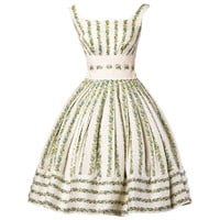 1950's Vintage Floral Lace Full Sweep Party Dress with Crinoline