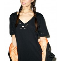 Widow Dark Waves Destroyed V-Neck Tee | Dolls Kill