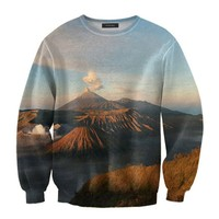 ZLYC Quiet Volcano Landscape Photographic Art Print Casual Sweatshirt
