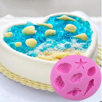 Sea Life Silicone Mold Fondant Gunpaste Cake Decorating Tool Cake Mold Shells Starfish Shape