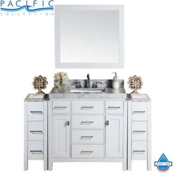 """64"""" Malibu Single Modern Bathroom Vanity with 2 Side Cabinets and White Marble Top with Undermount Sink"""