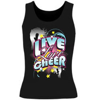 Printed Live Love Cheer Black Fitted Tank Top