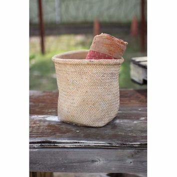 Woven Cement Planter With Rolled Top - Natural