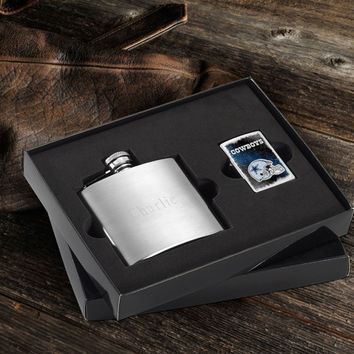 Personalized NFL Lighter and Brushed Flask Gift Set - Cowboys