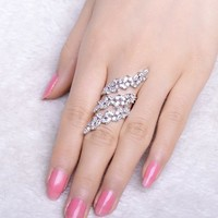Floral Silver Adjustable Ring
