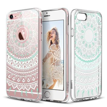 "iPhone 6 Case, iPhone 6s Case, ESR Pattern Design Slim Clear Case with Soft TPU Bumper+Hard PC Back Cover for 4.7"" iPhone 6 / iPhone 6s _Mint Mandala"