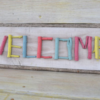 WELCOME sign wood up cycled bright colors bright housewares front door sign