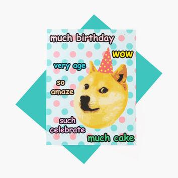 Doge Happy Birthday Funny Much Birthday Greeting Card - Shiba Inu