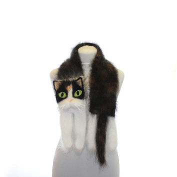 Knitted Scarf / Fuzzy white brown Soft Scarf / cat scarf / knit cat scarf / animal scarf / pets
