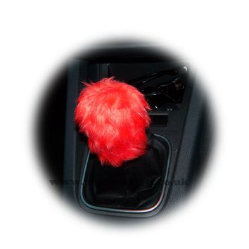Racing Red fuzzy faux fur Gear knob stick shift cover