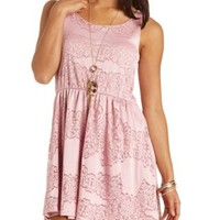 Sleeveless Lace Skater Dress by Charlotte Russe
