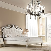 Upholstered leather double bed BUTTERFLY Glamour Collection by Gotha Luxury Italian Style