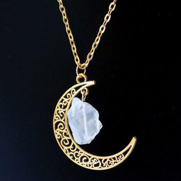 Sailor Moon Necklace ~Sun And Moon ~60cm Natural Stone Crystal Amethyst Tourmaline Necklace  Light yellow