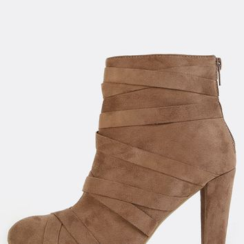 Faux Suede Wrap  Straps Ankle Booties TAUPE