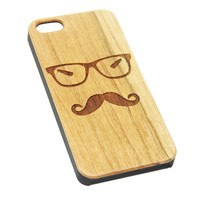 Geek Mustache Glasses Wood EngravediPhone 6s Case iPhone 6 Case iPhone 6s 6 Plus Cover Natural Wooden iPhone 5s 5 Case Samsung Galaxy S6 S5 Case D120
