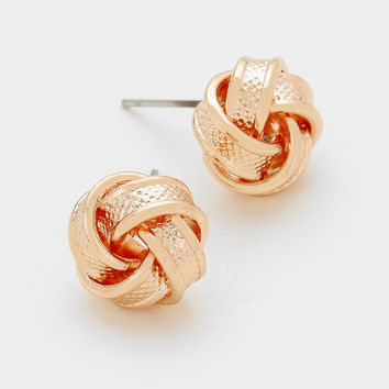 Rose Gold Rope Textured Knot Earrings