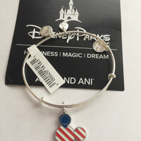 Disney Alex and Ani Parks Mickey Icon Flag Bangle Silver Finish New Tags