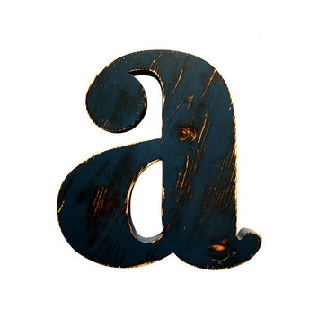 Rustic Wooden Lowercase Letter A (Pictured In Navy) Home Decor Wooden Letters Wedding Guest Book Kids Room Nursery Photo Prop Shabby Chic
