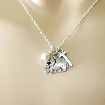 Cute, Elephant, Necklace, Initial, Elephant, Necklace, Personalized, Necklace, Initial, Gift, Bridal, Flower, Girl, Necklace, Animal
