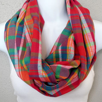 Rainbow Plaid Cotton Flannel Infinity Scarf Womens Fashion Fall Plaid Infinity Scarves Girls Multicolor Trending Fall Scarf