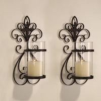 Iron and Glass Vertical Wall Hanging Candle Holder Sconce (Holds One Pillar Candle)