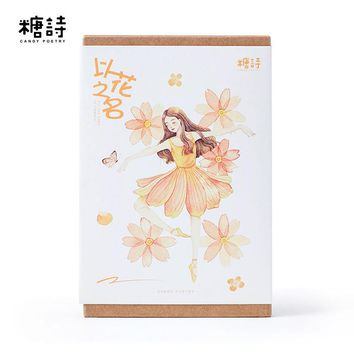 30Pcs/pack New Name Of Flower Girl Greeting Card Postcard Birthday Letter Envelope Gift Card Set Message Card M0377