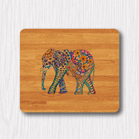 Wooden Elephant Floral Drawing Mouse Pad Printed Flower Big Animal Rubber MousePad Rectangle Matt Personalized Gift Desk Deco Work Gift Wood