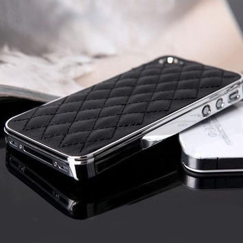 Checkers Faux Leather Chrome Hard Back Case Cover Skin For iPhone 4 4S 5 5S = 1931800132