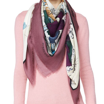 Cashmere Very Unpleasant Weather Scarf, Dusty Cherry, DUSTY CHERRY PINK - Burberry Prorsum