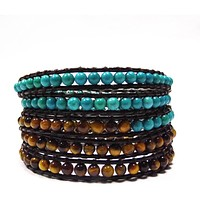 Chan Luu Style Wrap Bracelet Brown Leather Turquoise and Tiger Eye