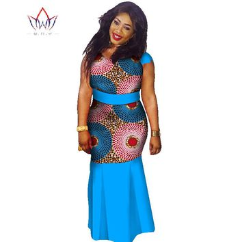 Plus Size  o-neck dresses women 2017 traditional african fashion Clothing Africa Wax Dashiki long cotton maxi dress 7xl WY1354