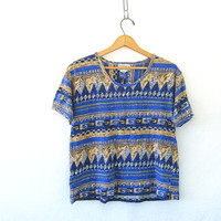 Vintage boxy cotton tee shirt. tribal print blouse. Short sleeve blouse. short sleeve tee. Revival top.