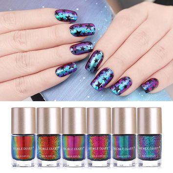 NICOLE DIARY Iridescent Flakies Chameleon Nail Polish Wonderworld Series Sequins Nail Art Lacquer Manicure Tips Color