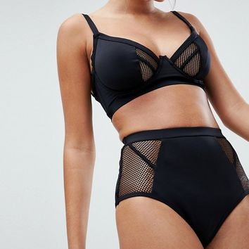 ASOS FULLER BUST Exclusive Fishnet Corset High Waist Bikini Bottom at asos.com