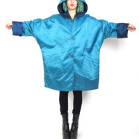 80s Reversible Rain Jacket Plus Size Windbreaker Blue Hooded Anorak Batwing Sleeve Outerwear Navy Button Up Oversized Draped Rain Coat (XL)