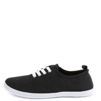 Lace-Up Canvas Sneakers by Charlotte Russe - Black