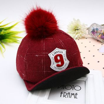 baby hat qiu dong han edition children with cloth cap bear rabbit hair ball baseball cap new winter For 2 to 7 years old