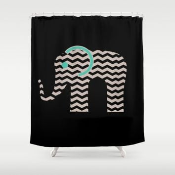 Teal Chevron Elephant Shower Curtain by UMe Images