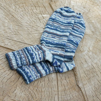 Mens Hand Knit striped  Wool Socks for him brown blue rustic men -  - made to order