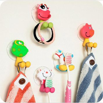 7Pcs Cute Toothbrush Holder Suction Hooks Cups Bathroom Accessories Tooth Brush Holder Cup Wall Mount Sucker Set Organizer