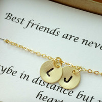 2 initial best friend necklacepersonalized by LuluCherryJewelry