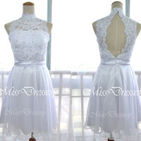 High Neck Mini Short Lace and Chiffon White Prom Dresses, Wedding Party Dress, Cocktail Dresses, Formal Gown, Bridesmaid Dresses