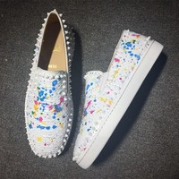 Christian Louboutin CL Pik Boat Style #2295 Sneakers Fashion Shoes Best Deal Online